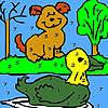 Yalnız köpek ve boyama ördek oyunu