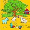 Büyük çiftlik ağaç ve boyama hayvanlar oyunu