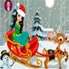 Ren geyiği giysi ile Noel kız oyunu