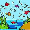 Renkli okyanus Balıklar Boyama oyunu