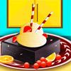 Lezzetli dondurma çikolatalı kek ile oyunu