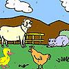 Komik çiftlik hayvanları boyama oyunu