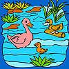 Komik ördek aile göl boyama içinde oyunu