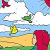 Kız ve kuş alanı boyama oyunu