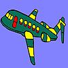Yeşil uçan uçak boyama oyunu