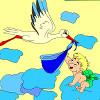 Leylek ve bebek boyama çocuklar oyunu