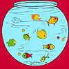Küçük balıkları akvaryum boyama oyunu