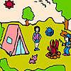 Küçük aile kamp boyama oyunu