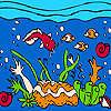 Okyanus ve renkli Balıklar Boyama oyunu