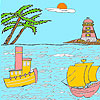 Sea and lighthouse coloring oyunu