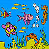 Sea turtle and fishes coloring oyunu