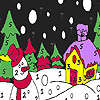 Snowman in the winter night coloring oyunu